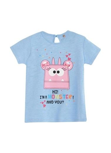 Soobe Canavar Kısa Kol Tişört Kız Bebek Giyim Mor